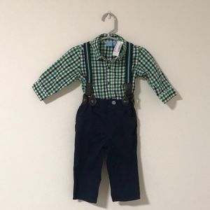 New 2 piece overalls and collar shirt onesie